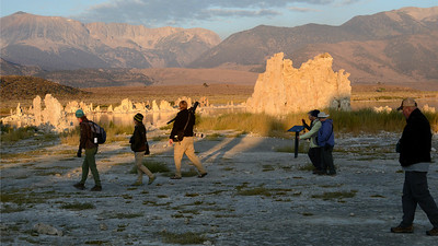 Moving from the Gulf Coast to the West Coast, we see guide Tom Johnson (scope over his shoulder) leading his group at Mono Lake during a Slice of California: Seacoast to Sierra tour. Photo by participant Bill Telfair.
