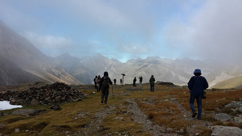 The magnificent Pyrenees appeared out of the mist for the group on one birding walk. Photo by participant Charlotte Byers.