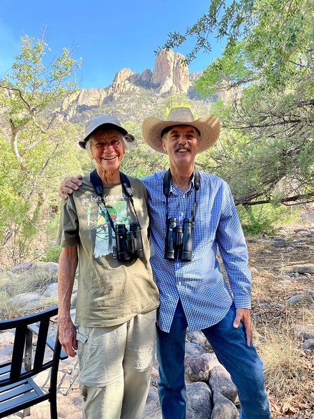 A Grebe and a Merlin! Perhaps not an uncommon sighting in the Arizona desert, this pair is truly one of a kind. That's Rose Anne Rowlett and Richard Webster, two of our legendary guides (now emeritus), photographed here by Lois Wood. They are immensely helpful to our tour groups visiting the Portal area, the pair's home base.