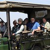 While at Masai Mara, the group enjoys a three-night stay at the famous Little Governors' Camp. Among the main activities at camp are daily drives in an open-sided Landcruiser, searching for large mammals and many birds. Here is our happy group smiling for guide Terry Stevenson.