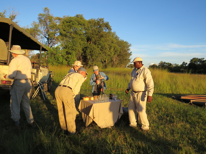 Yet all the water did not keep us from the normal delights of birding, mammaling, and cocktails in the Okavango. (Photo by participant Linda Riehl)