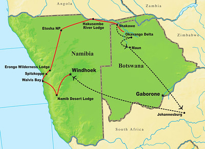 Let's leave the islands for some place very, very different...for Africa, and the giant dunes of Namibia and the fantastically rich Okavango Delta in Botswana.