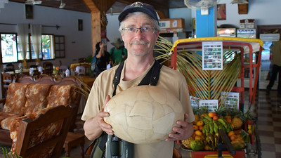 Participant Mark Chojnacki provides some perspective on how incredibly massive an Elephant Bird egg was. Photo by participant Linda Nuttall.