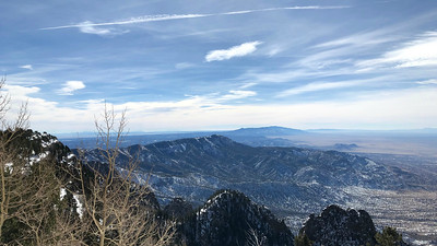 This was the sublime view from atop Sandia Crest, where we had the special opportunity to study all the rosy-finch taxa in hand! Photo by participant Mary Lou Barritt.