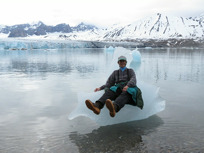 Participant Jan Shaw appears to be trying out the latest ice-sled model. Snowmobiles got nothin' on this!