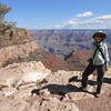 ...and you can't leave the Grand Canyon without a photo of yourself against the magnificent backdrop, right? Here's participant Joyce Miller making sure she has her memento!