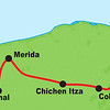 Our tour route runs from the island of Cozumel off the eastern part of Mexico's Yucatan Peninsula across to the beautiful colonial city of Merida and the coastal estuary at Celestun (where the flamingos were photographed), with stops a several important Mayan sites along the way.