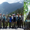Our recent Borneo group with guide Rose Ann Rowlett in two settings...against the slopes of massive Mt Kinabalu at left and between the buttresses of a huge lowland tree at right. It's a land of superlatives.