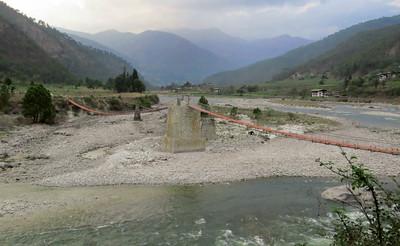 Long footbridge across the Mo Chu (Photo by participant Diane Drobka)