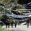Birding in Bhutan, we encounter many distractions, such as this array of prayer flags below Chele La. (Photo by participant Diane Drobka)