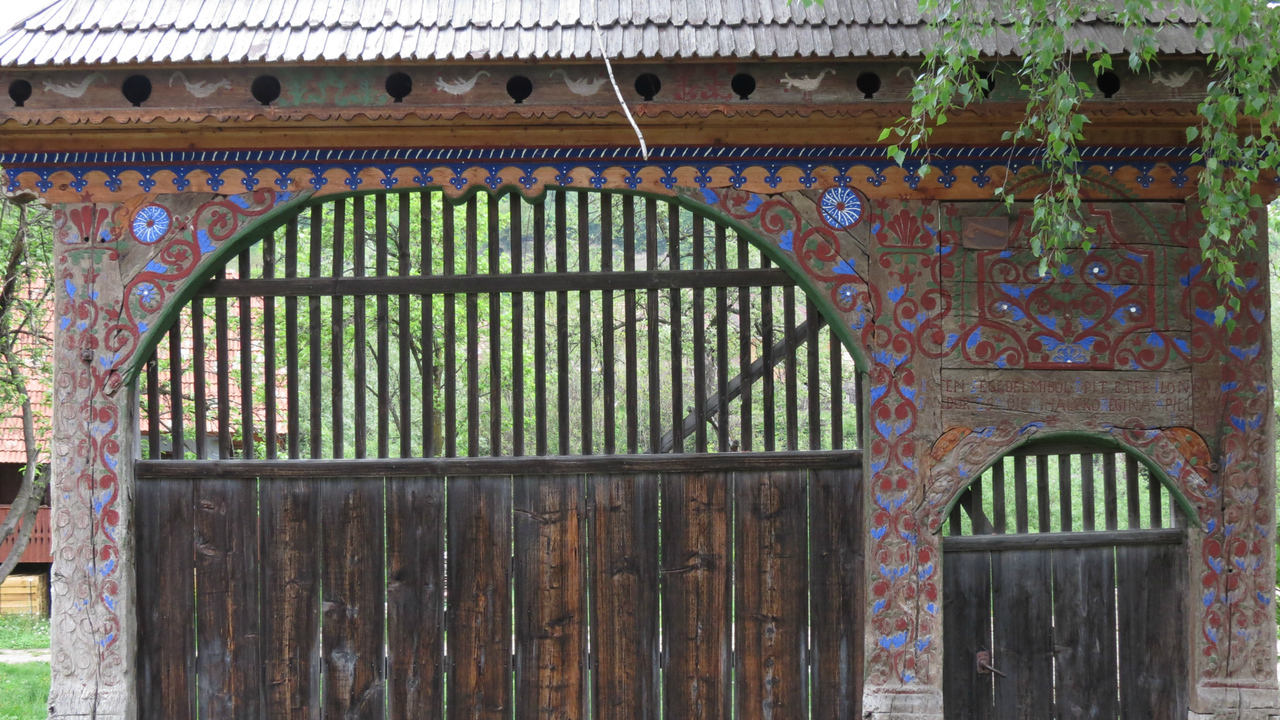 Detail of one of the famous traditional Szekely or Szekler gates in Hungary, photographed by participant Jan Shaw.
