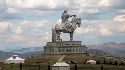 Let's leave Africa for Asia, where the second run of our new Mongolia tour visited this 130-foot tall stainless steel statue of Chinggis Khaan -- fitting for the legendary Mongolian leader who dominated this region in the 13th century. Photo by guide Phil Gregory.