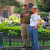 Guides Willy Perez & Rose Ann Rowlett share a laugh on the main plaza in Cuenca. (Photo by participant Phil Lauver)