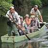 """Marcelo Padua was one of the guides for this tour. It takes skills well beyond binoculars to be a great guide, as the """"Manakin"""" was demonstrating in the bow. (Photo by participant Ken Havard)"""
