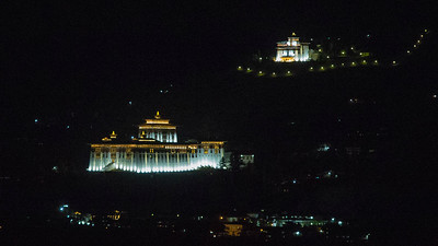 A cool nighttime view of the illuminated Paro Dzong, among the most famous of Bhutan's fortress monasteries. Photo by guide Richard Webster.
