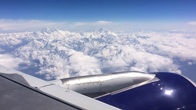 It was a beautiful clear day for a view of Mount Everest from the plane. Photo by participant Myles McNally.