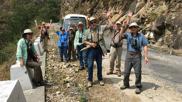 Scoring White-bellied Heron was definitely cause for celebration for our Bhutan group, here with guide Richard Webster at center in the green shirt. Photo by guide Megan Edwards Crewe.