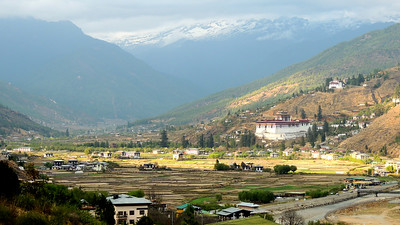 Not a bad view from our hotel in Paro! Photo by guide Megan Edwards Crewe.