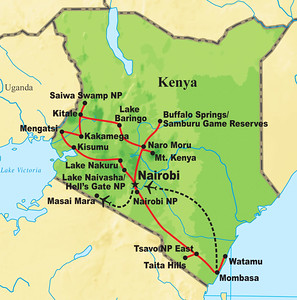 Our route for the Kenya Safari Spectacular tour -- Why so many places? Such an incredible diversity of birds and mammals to see!
