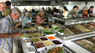 We were delighted to struggle with too many choices during a lovely buffet lunch--a typical challenge in Brazil! Photo by guide Bret Whitney.
