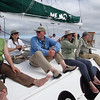 Deck time offer a chance for some relaxing birding en route between islands. It was one group's first afternoon on the Nemo II, and everyone was keen to get a look at some of the island specialties. (Photo by guide Megan Crewe)