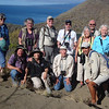 Our 2012 tour pauses for a scenic group shot partway up the trail above Tagus Cove. (Photo by guide Megan Crewe)