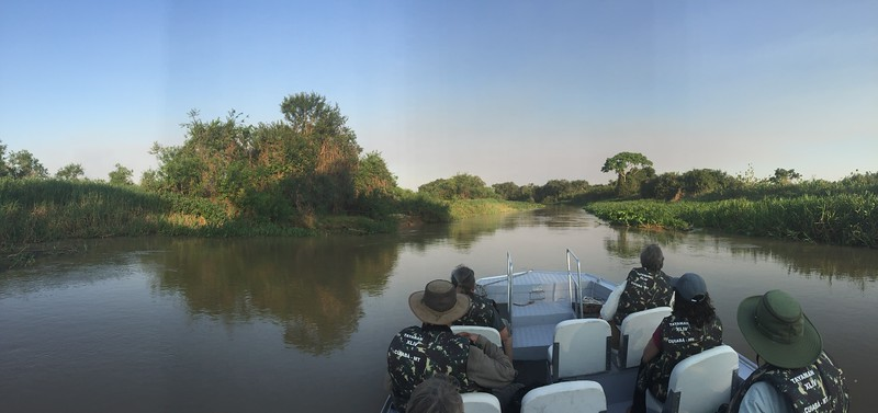 This is a great way to start the birding day: an early morning river cruise! (Photo by participant Valerie Gebert)