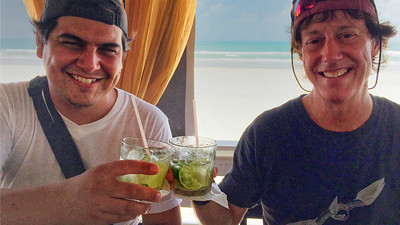 Guides Marcelo Padua (l.) and Bret Whitney raise caipirinhas at the end of a very successful day of birding. (Photo by participant Valerie Gebert)