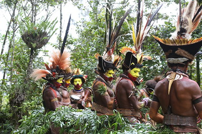 Huli Wigmen in full finery, with hornbill beaks and the amazing feathers of birds-of-paradise, cassowaries, and lorikeets. Photo by participant Betsy Fulmer.