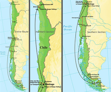 Let's jump across the continent to our Chile tour for the next set of images. As you can see from the map above, it's a long and narrow country and there's a lot of ground to cover if you want to see it all!