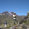 "Participants Dick Spight, Barbara Williams, Judith Fortney exploring and enjoying the terrain in the crater of Antillanca volcano on our inaugural <i>The Heart & Sole of Chile</i> tour in this photo from participant Joy Wallis.<div id=""caption_tourlink"" align=""right"">Link to: <a id=""caption_tourlink"" href=""http://www.fieldguides.com/chileheartsole.htm"" target=""_blank"">THE HEART & SOLE OF CHILE</a><br>[photo © Joy Wallis]</div>"