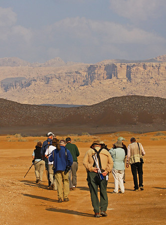 "Our Oman & the UAE gang sets off in search of sandgrouse... <div id=""caption_tourlink"" align=""right"">[photo © guide George Armistead]</div>"