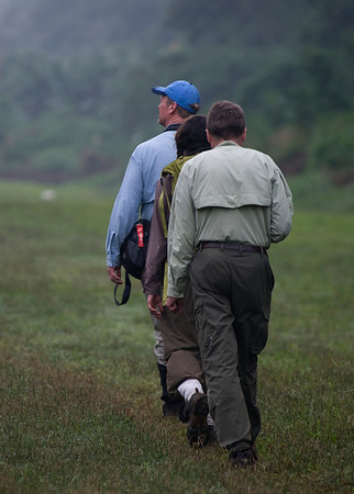 """Guide Dave Stejskal leads the way birding down the edge of the Cana airstrip, our access point from Panama City.<div id=""""caption_tourlink"""" align=""""right"""">[photo © participant Johnny Powell]</div>"""