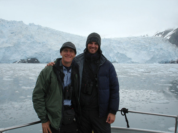 "And guides Chris Benesh and Jesse Fagan take in the sights at Aialik Glacier near Seward (watch for Kittlitz's Murrelet!).<div id=""caption_tourlink"" align=""right"">Link to: <a id=""caption_tourlink"" href=""http://www.fieldguides.com/alaska.htm"" target=""_blank"">ALASKA</a></div>"