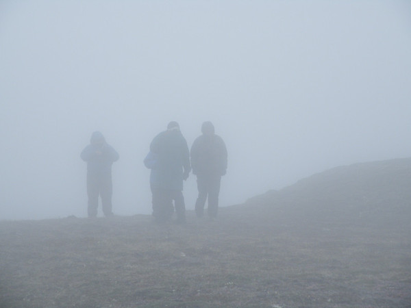 """Uh, yes, Nome can be a bit foggy at times...and it outdid itself for one of our groups this year.  Here are a few folks """"birding"""" Anvil Mountain near Nome in this photo by participant Pat Newman.<div id=""""caption_tourlink"""" align=""""right"""">Link to: <a id=""""caption_tourlink"""" href=""""http://www.fieldguides.com/alaska.htm"""" target=""""_blank"""">ALASKA</a><br>[photo © participant Pat Newman]</div>"""