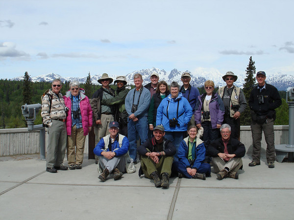 "One of our groups pauses for a pose on their way north from Anchorage to Denali National Park.<div id=""caption_tourlink"" align=""right"">Link to: <a id=""caption_tourlink"" href=""http://www.fieldguides.com/alaska.htm"" target=""_blank"">ALASKA</a><br>[photo © Chris Benesh]</div>"