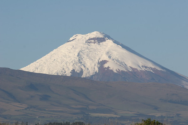 "On a clear day, Cotopaxi looms in the distance over the central valley where the capital of Quito is located. <div id=""caption_tourlink"" align=""right"">Link to: <a id=""caption_tourlink"" href=""http://www.fieldguides.com/montane.htm"" target=""_blank"">MONTANE ECUADOR</a><br>[photo © participant Alan Wight]</div>"