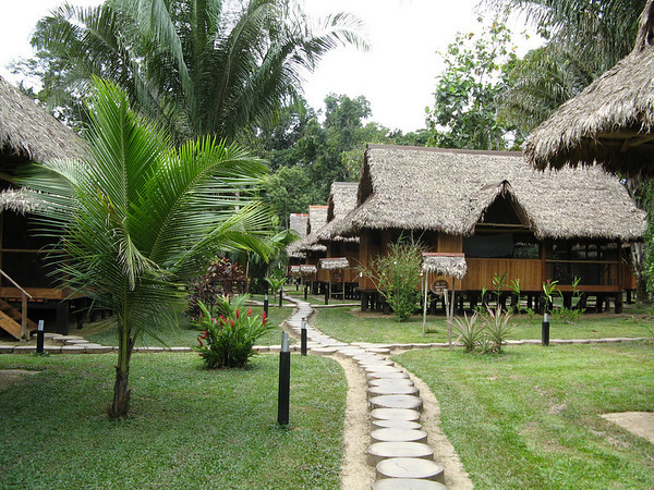 "The lovely and birdy Reserva Amazonica lodge...<div id=""caption_tourlink"" align=""right"">Link to: <a id=""caption_tourlink"" href=""http://www.fieldguides.com/perurainforests.htm"" target=""_blank"">PERUVIAN RAINFORESTS OF THE TAMBOPATA</a><br>[photo © participant John Collins]</div>"