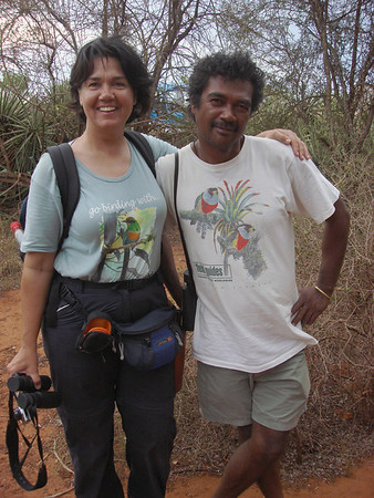"<i>Madagascar</i> co-leader Megan Crewe and local guide Gerard sport their Field Guides T-shirts! <div id=""caption_tourlink"" align=""right""><a id=""caption_tourlink"" href=""http://www.fieldguides.com/tours.html?area=tour&code=mad"" target=""_blank"">More about this tour...</a></div>"