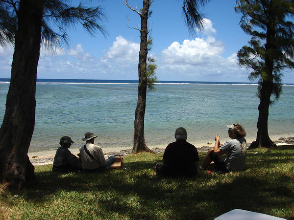 "And finally, we close this month's photo selection with a little relaxation from an image by guide Dan Lane. Tough spot to have a picnic, eh? Here are a few folks from our group enjoying a bite to eat surfside on the island of Mauritius. It was rough, but somebody had to do it!  We'll be back next month with another update.  Till then, good birding! <div id=""caption_tourlink"" align=""right""><a id=""caption_tourlink"" href=""http://www.fieldguides.com/tours.html?area=tour&code=mad"" target=""_blank"">More about this tour...</a></div>"