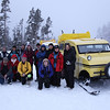 And here's our 2011 Yellowstone in Winter group in front of a primary mode of transportation inside the park at Yellowstone, where no private cars are allowed in the winter: the classic Bombardier snowcoach!  (Photo by participant Steve Wakeham)