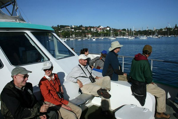 """Our group heading out to sea from Sydney Harbor...<div id=""""caption_tourlink"""" align=""""right"""">Link to: <a id=""""caption_tourlink"""" href=""""http://www.fieldguides.com/australia.htm"""" target=""""_blank"""">AUSTRALIA</a><br>[photo © guide Dave Stejskal]</div>"""