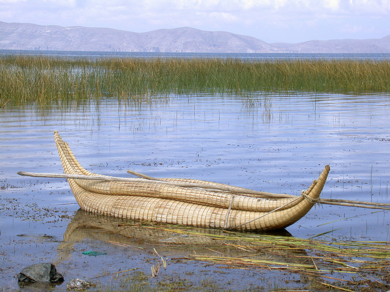 "Traditional watercraft at Lake Titicaca<div id=""caption_tourlink"" align=""right""> [photo © participant Bob Brandriff]</div>"