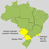 """Here's a map of Brazil showing the three main areas we visit in some of the best birding sites in the country.  Rio and Itatiaia National Park are in the state of Rio de Janeiro, Iguazu Falls is in the state of Parana where Brazil, Argentina, and Paraguay meet, and the private ranch we visit in the southern Pantanal is outside of the city of Campo Grande in the state of Mato Grosso do Sul.<div id=""""caption_tourlink"""" align=""""right""""> [Map outline by Walter Holden-Belmont]</div>"""