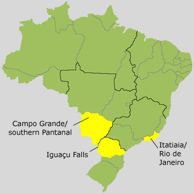 "Here's a map of Brazil showing the three main areas we visit in some of the best birding sites in the country.  Rio and Itatiaia National Park are in the state of Rio de Janeiro, Iguazu Falls is in the state of Parana where Brazil, Argentina, and Paraguay meet, and the private ranch we visit in the southern Pantanal is outside of the city of Campo Grande in the state of Mato Grosso do Sul.<div id=""caption_tourlink"" align=""right""> [Map outline by Walter Holden-Belmont]</div>"