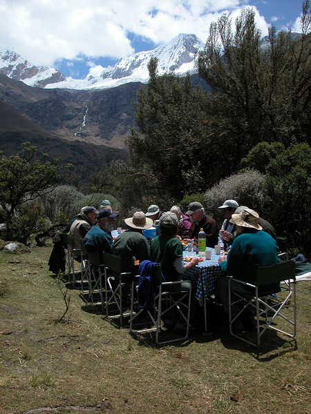 """Another Huascaran lunch, this one under Mt. Chacrarju. <div id=""""caption_tourlink"""" align=""""right"""">[photo © guide Richard Webster]</div>"""