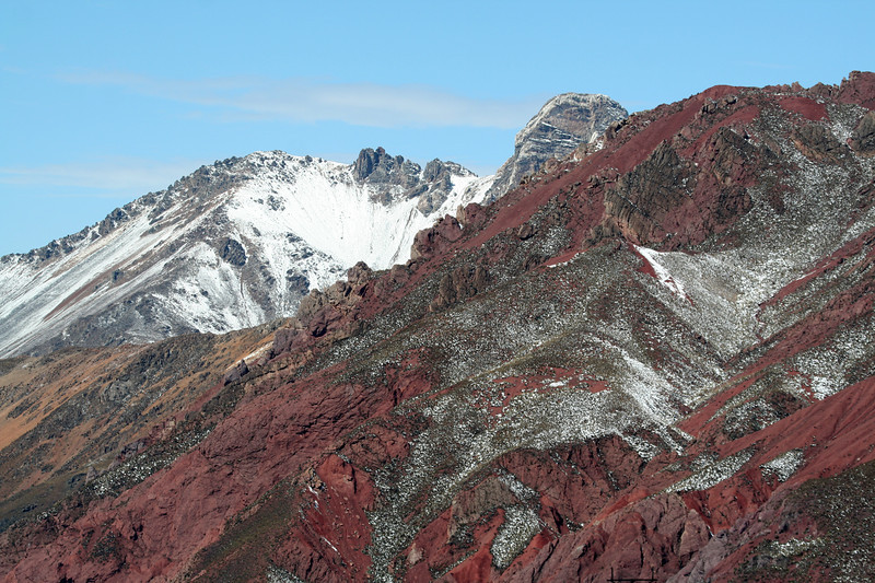"The fresh snow near Ticlio Pass starts melting quickly once the skies clear, exposing the rich colors. <div id=""caption_tourlink"" align=""right"">[photo © guide Richard Webster]</div>"