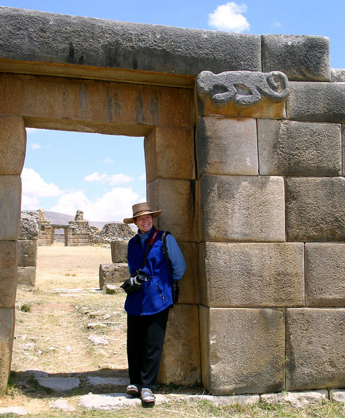 "A figure of a monkey (the one carved in stone!) decorates the entrance to the Inka's private quarters. Such important buildings here contain fine Inca stonework, comparable to anything to be seen in Cusco. <div id=""caption_tourlink"" align=""right"">[photo © guide Rose Ann Rowlett]</div>"