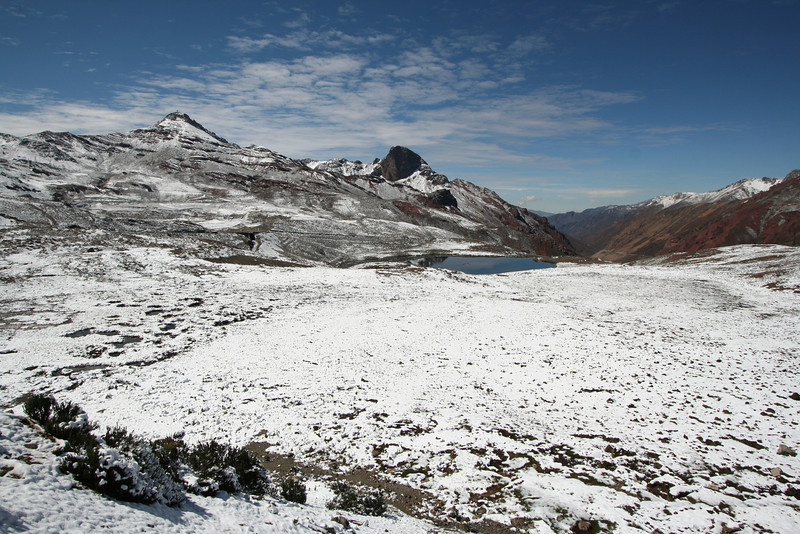 "Between Lake Junin and Lima, we sometimes encounter fresh snow near Ticlio Pass, 15,700 feet, along the Central Highway. <div id=""caption_tourlink"" align=""right"">[photo © guide Richard Webster]</div>"