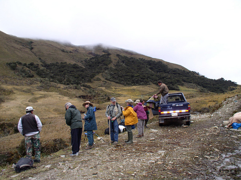 "A pickup gives some of us a ride to the end of the road, from which we hike up over a pass and down the trail into the upper elevation paramo on the east slope. <div id=""caption_tourlink"" align=""right"">[photo © guide Rose Ann Rowlett]</div>"